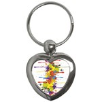 Crazy Multicolored Double Running Splashes Key Chains (Heart)  Front
