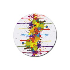 Crazy Multicolored Double Running Splashes Rubber Round Coaster (4 Pack)