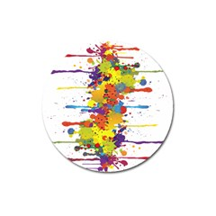 Crazy Multicolored Double Running Splashes Magnet 3  (round) by EDDArt