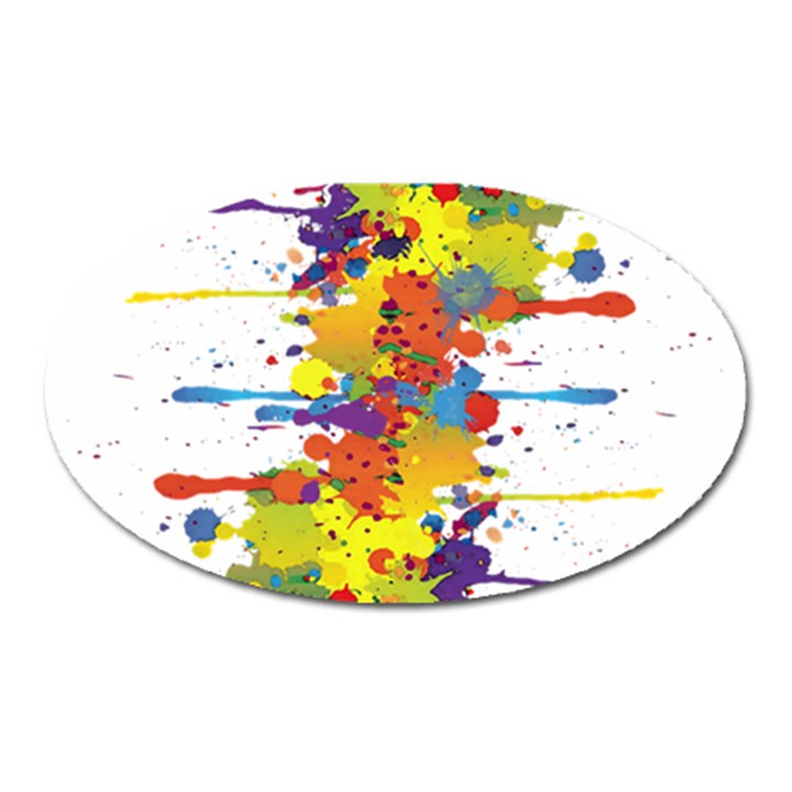 Crazy Multicolored Double Running Splashes Oval Magnet