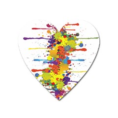 Crazy Multicolored Double Running Splashes Heart Magnet
