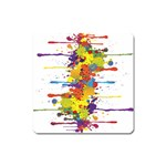 Crazy Multicolored Double Running Splashes Square Magnet Front