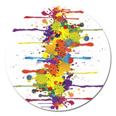 Crazy Multicolored Double Running Splashes Magnet 5  (round) by EDDArt