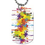 Crazy Multicolored Double Running Splashes Dog Tag (One Side)