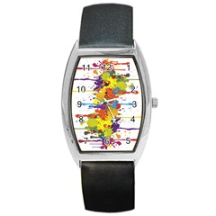 Crazy Multicolored Double Running Splashes Barrel Style Metal Watch