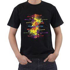 Crazy Multicolored Double Running Splashes Men s T Shirt (black) (two Sided)