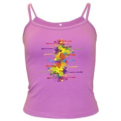 Crazy Multicolored Double Running Splashes Dark Spaghetti Tank