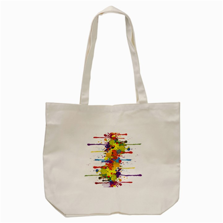 Crazy Multicolored Double Running Splashes Tote Bag (Cream)