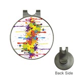Crazy Multicolored Double Running Splashes Hat Clips with Golf Markers