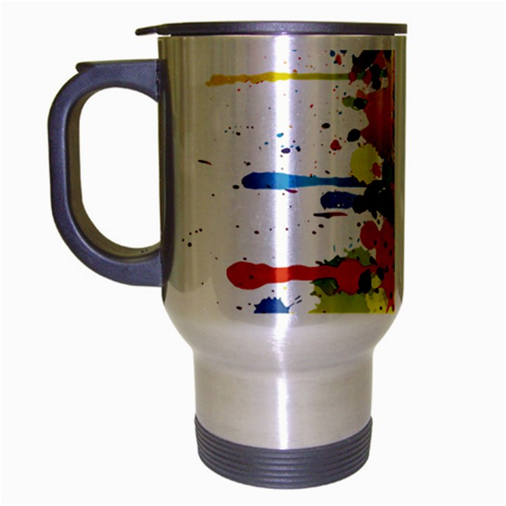 Crazy Multicolored Double Running Splashes Travel Mug (Silver Gray)