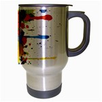 Crazy Multicolored Double Running Splashes Travel Mug (Silver Gray) Right