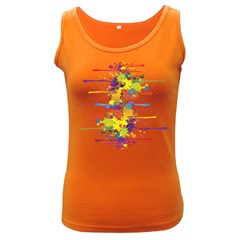 Crazy Multicolored Double Running Splashes Women s Dark Tank Top by EDDArt