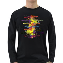 Crazy Multicolored Double Running Splashes Long Sleeve Dark T Shirts