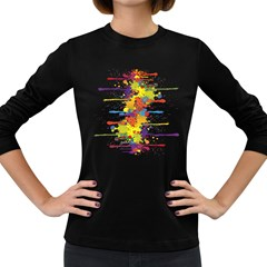 Crazy Multicolored Double Running Splashes Women s Long Sleeve Dark T Shirts