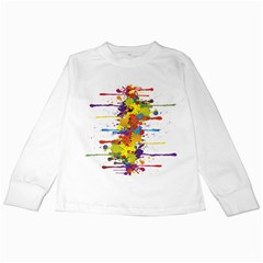 Crazy Multicolored Double Running Splashes Kids Long Sleeve T Shirts