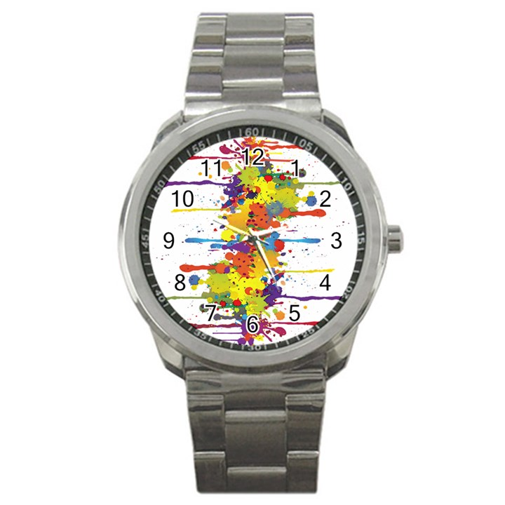 Crazy Multicolored Double Running Splashes Sport Metal Watch