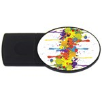 Crazy Multicolored Double Running Splashes USB Flash Drive Oval (4 GB)