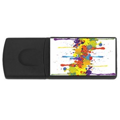 Crazy Multicolored Double Running Splashes Usb Flash Drive Rectangular (4 Gb)  by EDDArt