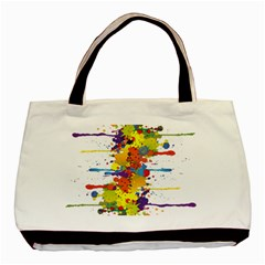 Crazy Multicolored Double Running Splashes Basic Tote Bag by EDDArt
