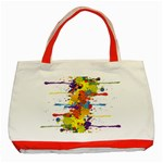Crazy Multicolored Double Running Splashes Classic Tote Bag (Red)
