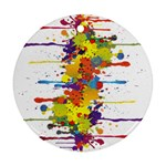 Crazy Multicolored Double Running Splashes Round Ornament (Two Sides)  Back