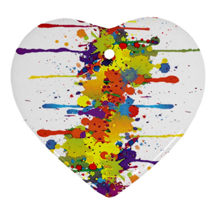 Crazy Multicolored Double Running Splashes Heart Ornament (2 Sides)