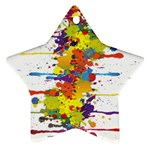 Crazy Multicolored Double Running Splashes Star Ornament (Two Sides)  Front