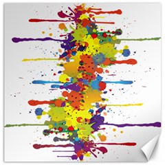 Crazy Multicolored Double Running Splashes Canvas 12  X 12