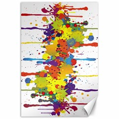 Crazy Multicolored Double Running Splashes Canvas 24  X 36