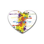 Crazy Multicolored Double Running Splashes Rubber Coaster (Heart)  Front