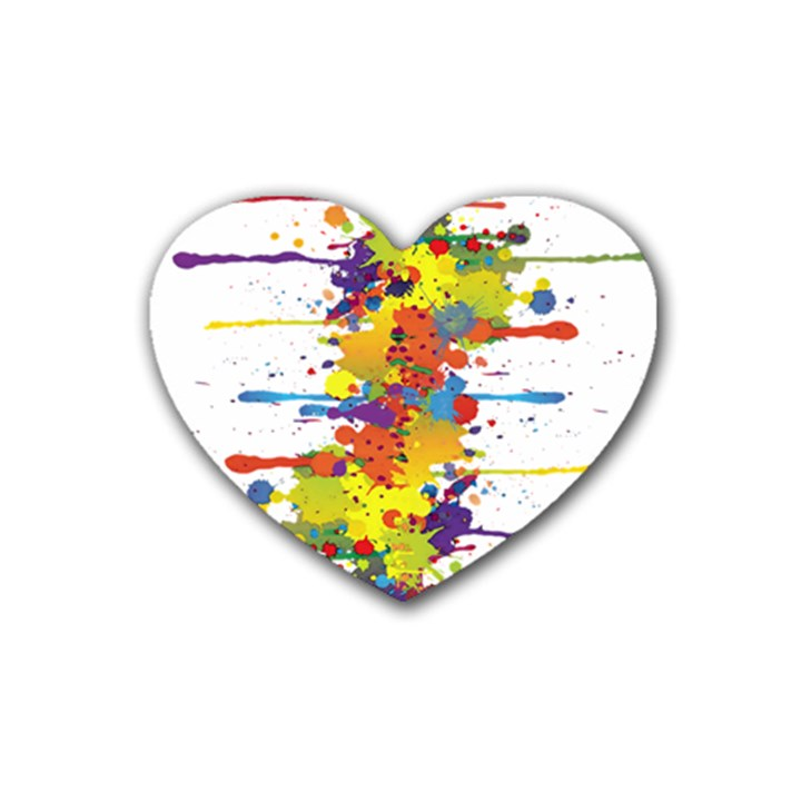 Crazy Multicolored Double Running Splashes Rubber Coaster (Heart)