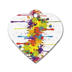 Crazy Multicolored Double Running Splashes Dog Tag Heart (one Side)