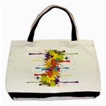 Crazy Multicolored Double Running Splashes Basic Tote Bag (Two Sides) Back