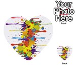Crazy Multicolored Double Running Splashes Multi-purpose Cards (Heart)  Front 50
