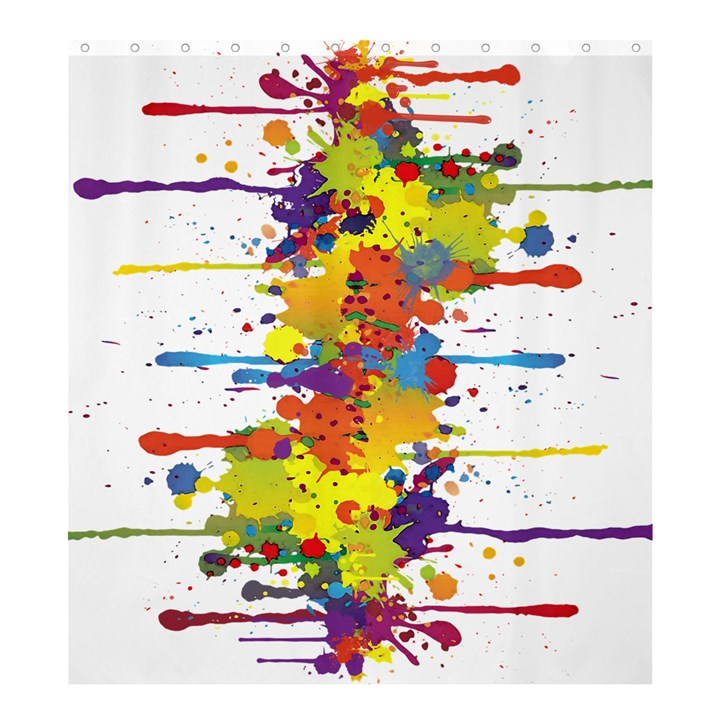 Crazy Multicolored Double Running Splashes Shower Curtain 66  x 72  (Large)