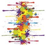 Crazy Multicolored Double Running Splashes Small Memo Pads 3.75 x3.75  Memopad