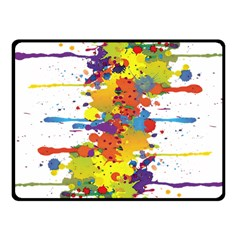Crazy Multicolored Double Running Splashes Fleece Blanket (small) by EDDArt