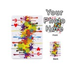Crazy Multicolored Double Running Splashes Playing Cards 54 (Mini)  Front - Heart9