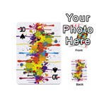 Crazy Multicolored Double Running Splashes Playing Cards 54 (Mini)  Front - Spade10