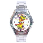 Crazy Multicolored Double Running Splashes Stainless Steel Analogue Watch Front