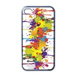 Crazy Multicolored Double Running Splashes Apple iPhone 4 Case (Black) Front