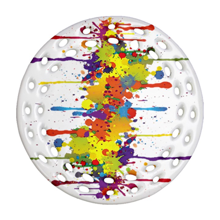 Crazy Multicolored Double Running Splashes Round Filigree Ornament (2Side)