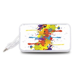Crazy Multicolored Double Running Splashes Portable Speaker (white)  by EDDArt