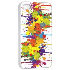 Crazy Multicolored Double Running Splashes Apple Iphone 4/4s Seamless Case (white)