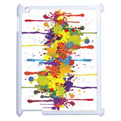 Crazy Multicolored Double Running Splashes Apple Ipad 2 Case (white) by EDDArt