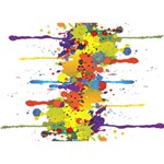 Crazy Multicolored Double Running Splashes Heart 3D Greeting Card (7x5) Back