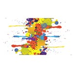 Crazy Multicolored Double Running Splashes Twin Heart Bottom 3D Greeting Card (8x4) Back