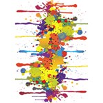 Crazy Multicolored Double Running Splashes Get Well 3D Greeting Card (7x5) Inside