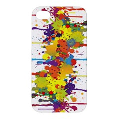 Crazy Multicolored Double Running Splashes Apple Iphone 4/4s Premium Hardshell Case