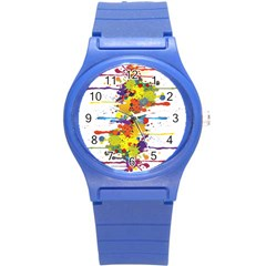 Crazy Multicolored Double Running Splashes Round Plastic Sport Watch (s) by EDDArt